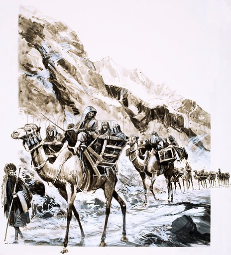 The Pass That Led to War. A camel train travels through the Khyber Pass. Original artwork from Look and Learn no. 533 (1 April 1972).