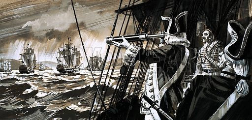 The British Were Here: Minorca's Men of War. Britain lost Minorca when a fleet of French ships fled into the sanctuary of Mahon harbour. Original artwork from Look and Learn no. 549 (22 July 1972).