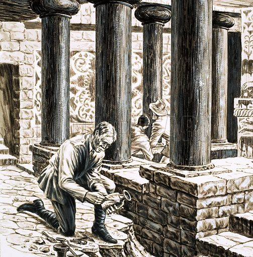 Treasures of the Past: Palace of the Bull. Arthur Evans exploring the remains of the ancient Minoan palace at Knossos. Original artwork from Look and Learn no. 1006 (20 June 1981).