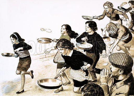Pancake Race. Original artwork (dated 24 Feb).