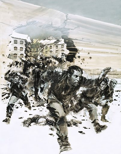 The Day That the RAF Broke Open a Jail. POWs escaping Amiens jail. Original artwork from Look and Learn no. 575 (20 January 1973).