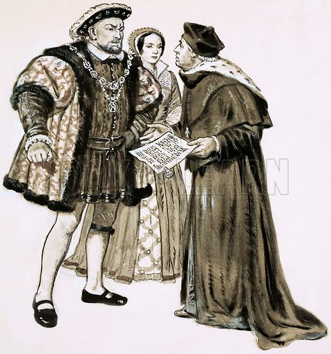 History's Heroes: The Fatal Fortune. Cardinal Wolsey could not change Henry's mind about marrying Anne Boleyn. Original artwork from Look and Learn no. 564 (4 November 1972).