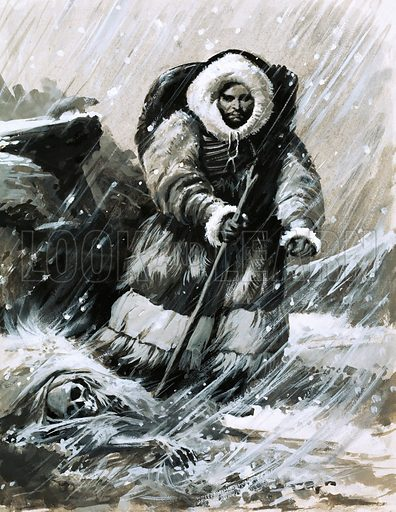 Men With a Mission: The Pope's Peacemaker. Friar John marches through the blinding snow. Original artwork from Look and Learn no. 566 (18 November 1972).
