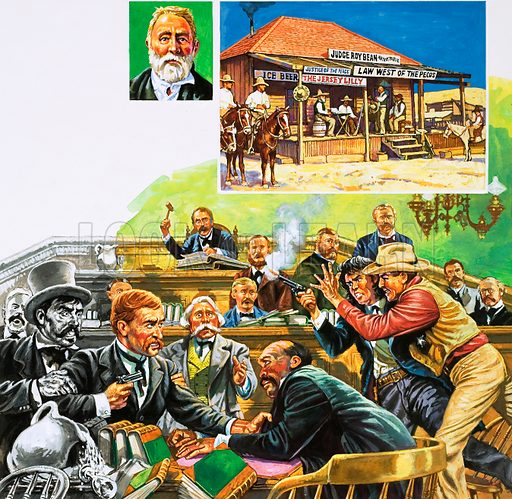 The Law of the West: Quick-Draw Justice. The court case of Temple Lee Houston turned into a running gun battle; inset, portrait of Judge Roy Bean who dispensed tough justice from his saloon (right). Original artwork from Look and Learn no. 1030 (5 December 1981).