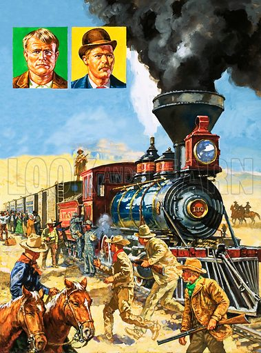 "The Law of the West: ""We Never Sleep…"" The motto of the famous Pinkerton's National Detective Agency. Butch Cassidy and the Sundance Kid (vignettes) hold up a Union Pacific Railroad train. Original artwork from Look and Learn no. 1033 (26 December 1981)."