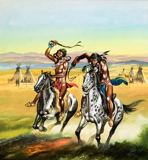 Unidentified Indians whipping their horses on. Original artwork.