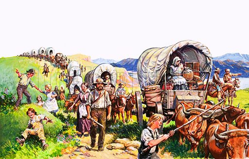 Unidentified wagon train scene. Original artwork.