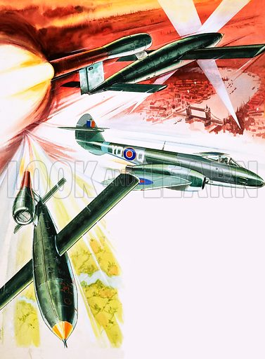 Doodlebug. The V1 Flying Bomb. With Meteor aircraft in centre. Original artwork from Speed and Power no. 61 (16 May 1975).
