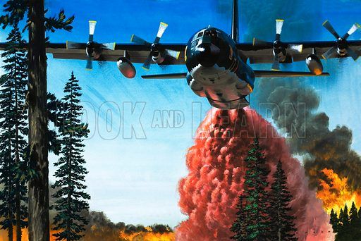 Bombing a Forest Fire. Fire-fighters have declared aerial warfare on the flames and tanker planes use chemical 'bombs' to snuff out the blaze. Original artwork from Look and Learn no. 592 (19 May 1973).