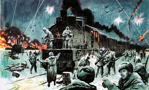 Railway Days and Ways: The Railway That Saved a City. A Russian train brings supplies to Leningrad after two years of siege in World War II. Original artwork (dated 1/1/66).