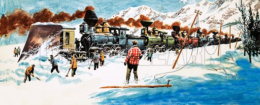 Railway Days and Ways: The Railway That Saved a City. The first Trans-continental railway line across America had to cope with vast snow drifts off the prairies. Original artwork (dated 1/1/66).