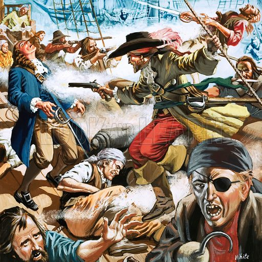 Pirates attacking a ship. Original arwork from World of Knowledge.