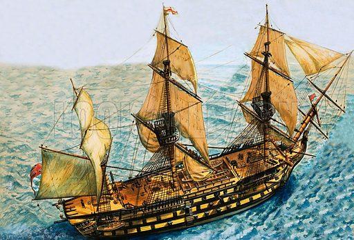 Unidentified sailing ship. Original artwork.