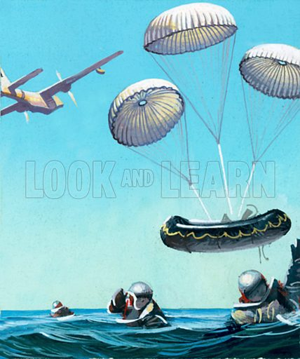The Story of the Parachute: Sky-Divers of the Future. Parachutes used to drop of boat to pilots who have had to bale out. Original artwork from Look and Learn no. 160 (6 February 1965).