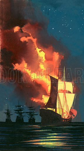 Men of the Jolly Roger: Morgan – Terror of the Main. A fireship. Panel from original artwork from Look and Learn no. 164 (6 March 1965).