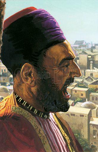 Muezzin summoning the Faithful. Original artwork.