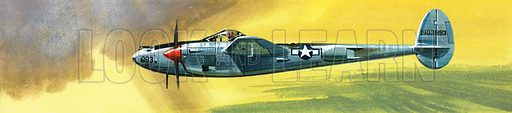 Into the Blue: American War-planes (1941–45). Lockheed P-38J Lightning. Original artwork from Look and Learn no. 346 (31 August 1968).