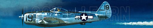 Into the Blue: American War-planes (1941–45). Republic P-47N Thunderbolt. Original artwork from Look and Learn no. 346 (31 August 1968).