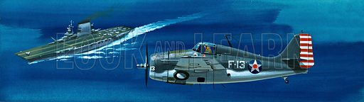 Into the Blue: American War-planes (1941–45). Grumman F4RF-3 Wildcat. Original artwork from Look and Learn no. 347 (7 September 1968).