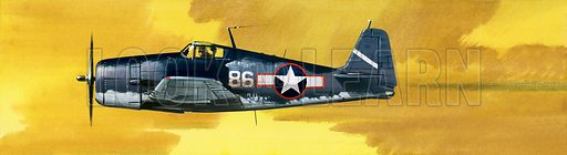 Into the Blue: American War-planes (1941-45). Grumman F6F-3 Hellcat. Original artwork from Look and Learn no. 347 (7 September 1968).