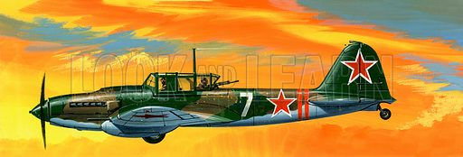 Into the Blue: Russian Aircraft of World War II. Ilyushin II-2m3 Russian ground-attack aircraft. Original artwork from Look and Learn no. 386 (7 June 1969).