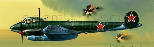 Into the Blue: Russian Aircraft of World War II. Petlyakov Pe-2 Russian bomber. Original artwork from Look and Learn no. 386 (7 June 1969).