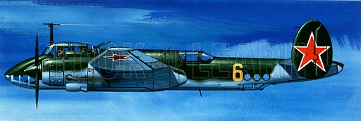 Into the Blue: Russian Aircraft of World War II. Tupolev Tu-2 Russian bomber. Original artwork from Look and Learn no. 386 (7 June 1969).