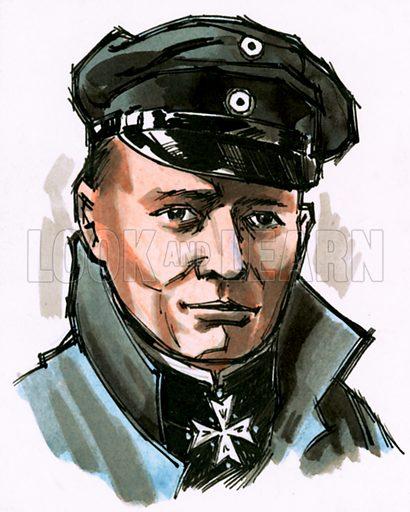 Unidentified portrait of German commander. Original artwork.