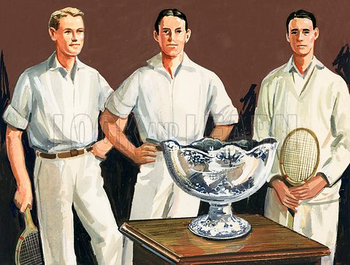 Tennis A Sport of Kings. The first Davis Cup (1900) was thought up by Dwight Davis who was on the winning team (centre). Original artwork from Look and Learn Book 1981.