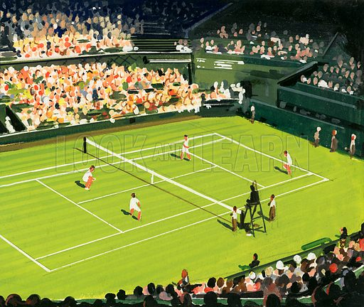 Tennis A Sport of Kings. The centre court at Wimbledon. Original artwork from Look and Learn Book 1981.