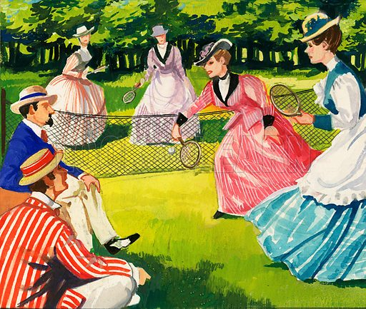 Tennis A Sport of Kings. Tennis was always popular amongst women although the dresses in this 1877 match must have hampered their game somewhat. Original artwork from Look and Learn Book 1981.