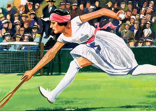 Tennis A Sport of Kings. Suzanne Lengten, winner of the 1925 Ladies Singles Championship. Original artwork from Look and Learn Book 1981.