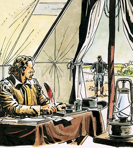 Blood on the Prairie. Panel from comic strip featuring General George Custer. Original artwork from Ranger (29 January 1966).