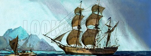 Unidentified sailing ship approaching an island. Original artwork.