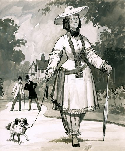 Fads in Fasion: Good Sports! The mid-Victorian fashion for ladies wearing bloomers was invented by a Mrs Bloomer. Original artwork from Look and Learn no. 453 (19 September 1970).