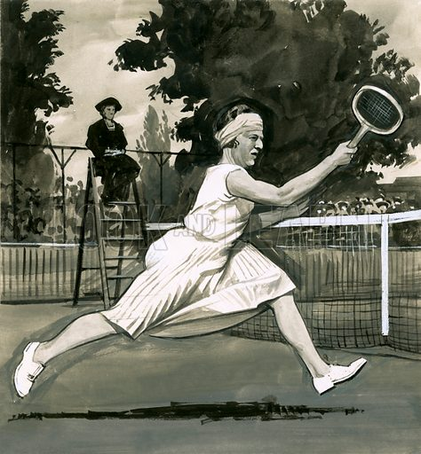 Fads in Fasion: Good Sports! Suzanne Lenglen, the Ladies' Singles Champion who introduced more sensible fashions for women players. Original artwork from Look and Learn no. 453 (19 September 1970).
