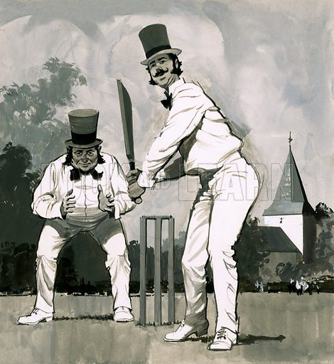 Fads in Fasion: Good Sports! An early Victorian cricketer. Original artwork from Look and Learn no. 453 (19 September 1970).