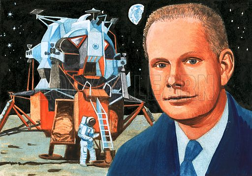 Unidentified American astronaut and moon lander. Original artwork (dated 1/8/70).