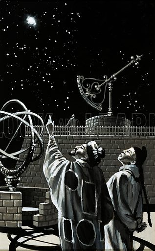Finding Out: When Stars Explode. Chinese astronomers searching the skies for a sign. Original artwork from Look and Learn no. 990 (28 February 1981).