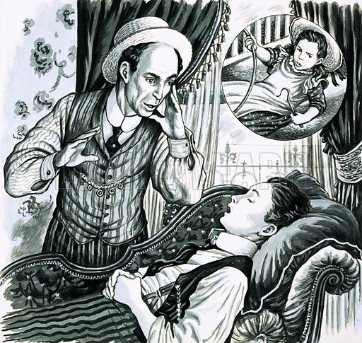 Unidentified man with boy sleeping on couch. Original artwork.