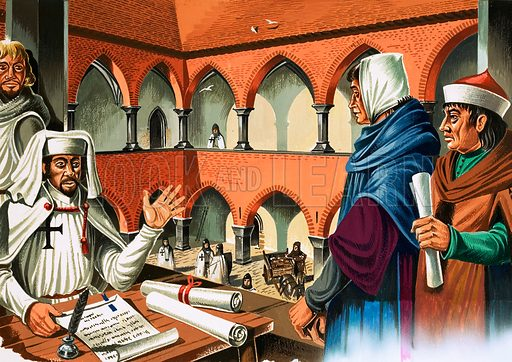 Tales of the Teutonic Knights: The Knights March Eastwards. The Marshal of the Order interviewing would-be colonists in the Bishop's Palace in East Prussia. Original artwork from Look and Learn no. 504 (11 September 1971).