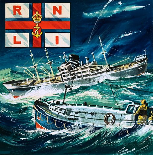 Picture Quiz -- Initials of famous societies and institutions. R.N.L.I. Royal Naval Lifeboat Instution. Original artwork from cover of Look and Learn no. 216 (5 March 1966).