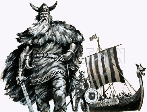 Vikings and their longship. Original artwork from Look and Learn no. 642 (4 May 1974).