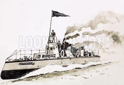 Turbinia, steam-powered ship. Original artwork (dated 7 Feb).