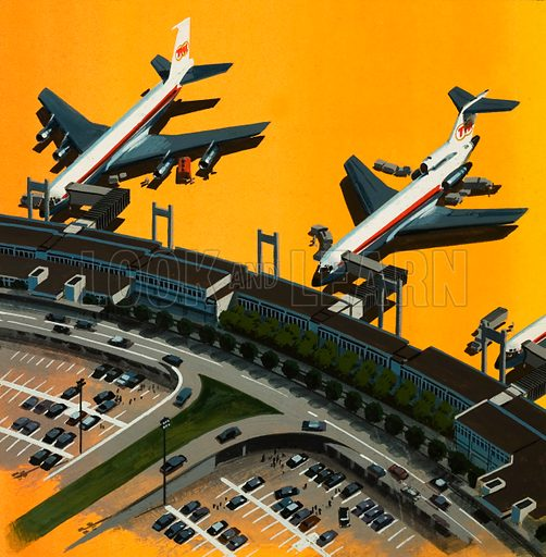 Aircraft at an airport. Original artwork.