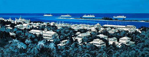 Unidentified coastline with village and boats on horizon. Original artwork.