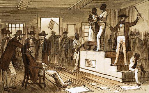 Slave auction in the United States, 19th Century. Original artwork.