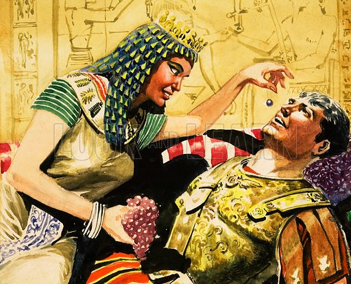 Cleopatra and Caesar. Original artwork for detail in Herod the Great strip that appeared in The Bible Story issue no 27.