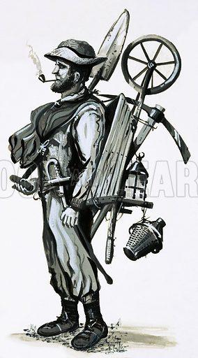 Irish navvy. Original artwork.