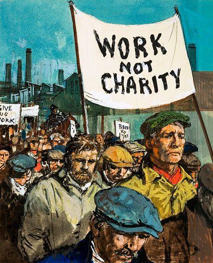 Unemployed marchers, picture, image, illustration